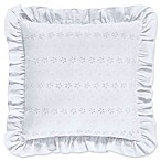 Piper & Wright Lucy Eyelet Ruffled Square Throw Pillow in White