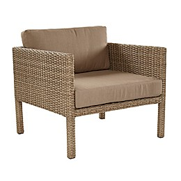 All-Weather Wicker Aluminum Woven Single Chair in Light Brown