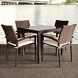 Atlantic Liberty 5-Piece Patio Dining Set in Brown with Off-White Cushions