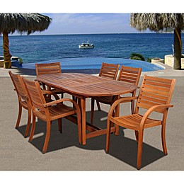 Amazonia Arizona Extendable Wood Oval Patio Dining Set