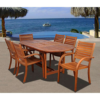 Amazonia Arizona Extendable Wood Oval Patio Dining Set