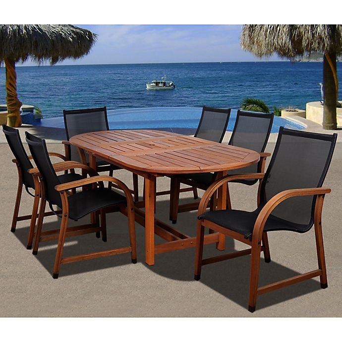 Alternate image 1 for Amazonia Bahamas Extendable Oval Eucalyptus Outdoor Patio Dining Set