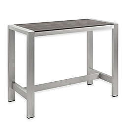Modway Shore Large Outdoor Patio Bar Table in Silver/Grey