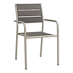 Modway Shore Outdoor Patio Dining Chair in Silver/Grey