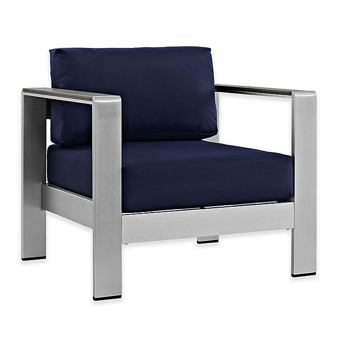 Alternate image 1 for Modway Shore Outdoor Patio Armchair in Silver/Navy