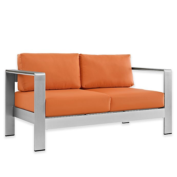 Alternate image 1 for Modway Shore Outdoor Patio Loveseat in Silver/Orange