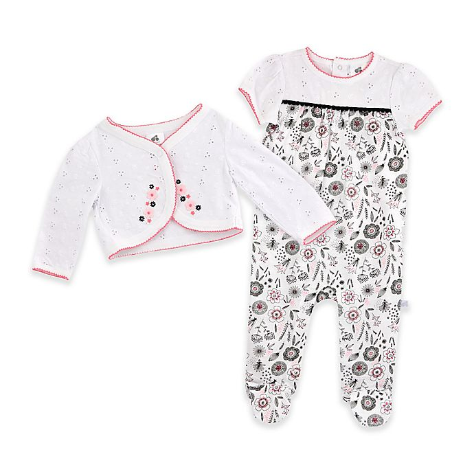 Alternate image 1 for Just Born® Madeline 2-Piece Footie and Jacket Set in White