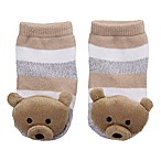 Cuddl Duds® Size 0-6M Brown Bear Rattle Socks in Brown/Grey