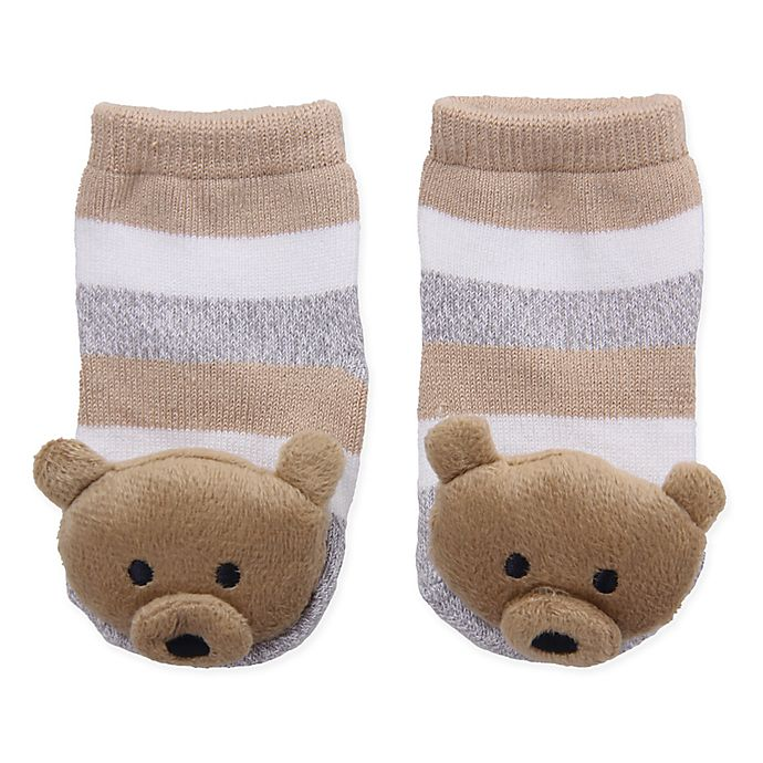 Alternate image 1 for Cuddl Duds® Size 0-6M Brown Bear Rattle Socks in Brown/Grey