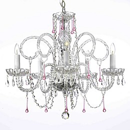 Swarovski® Crystal Trimmed 5-Light Chandelier in Clear/Pink