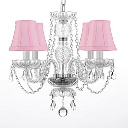 Murano 4-Light Crystal Chandelier with Pink Shades