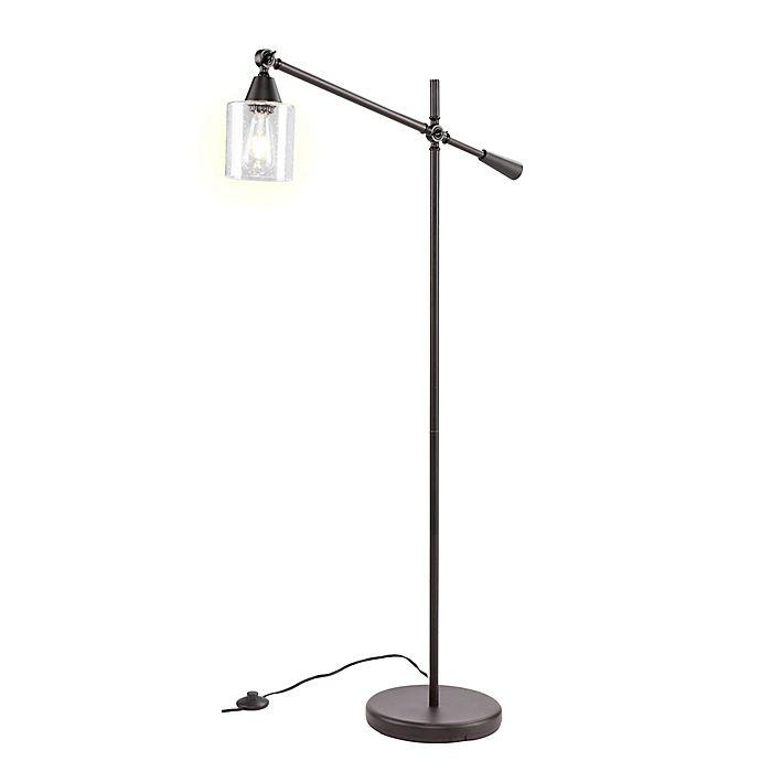 Southern Enterprises Tiernan Floor Lamp In Black With Glass