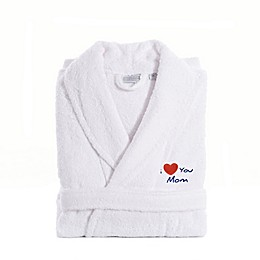 "Linum Home Textiles ""I Love You Mom"" Terry Bathrobe in White"