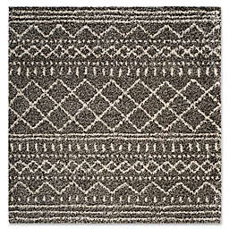 Safavieh Arizona 6-Foot 7-Inch Square Shag Area Rug in Brown/Ivory