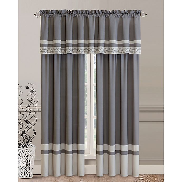 Alternate image 1 for Callie Rod Pocket Window Curtain Panels in Grey (Set of 2)