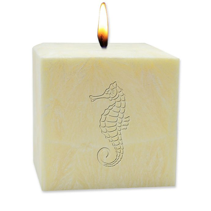 Alternate image 1 for Carved Solutions Eco-Luxury Citrus Escape 4-Inch Palm Wax Seahorse Pillar Candle in Champagne