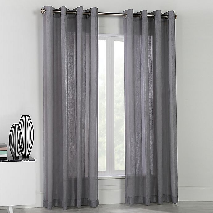 Alternate image 1 for Stella 84-Inch Grommet Top Window Curtain Panel in Grey