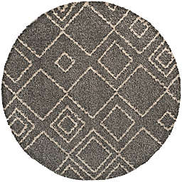 Safavieh Arizona 6-Foot 6-Inch Round Shag Area Rug in Brown/Ivory