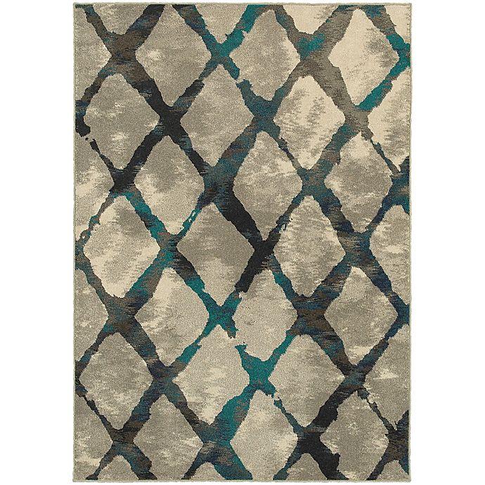Alternate image 1 for Oriental Weavers Highlands Diamond Grid 3-Foot 10-Inch x 5-Foot 5-Inch Scatter Rug in Grey