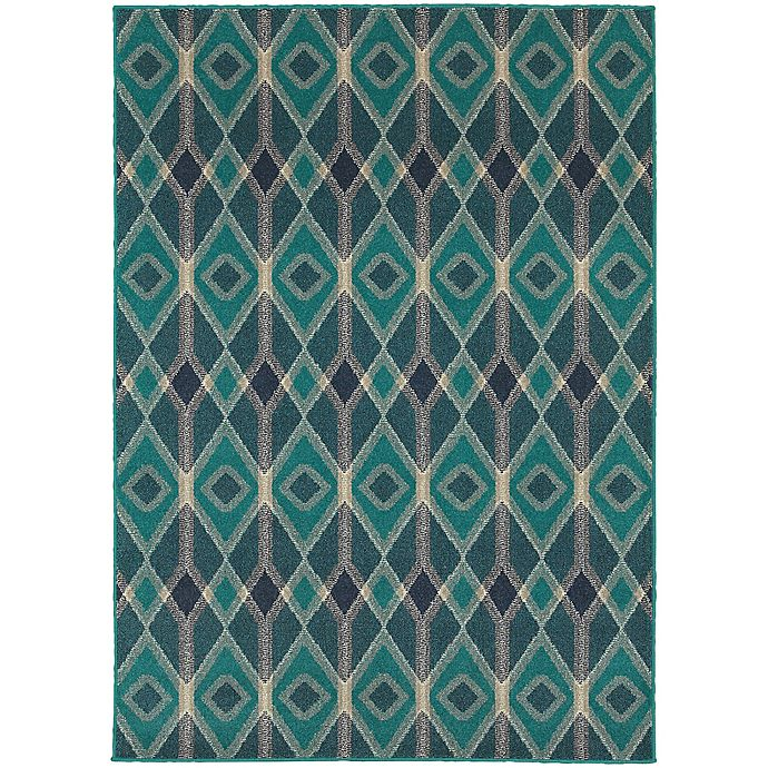Alternate image 1 for Oriental Weavers Highlands Diamonds 3-Foot 10-Inch x 5-Foot 5-Inch Scatter Rug in Blue