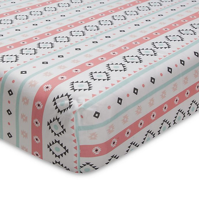 Alternate image 1 for Lambs & Ivy® Little Spirit Fitted Crib Sheet in Coral/Teal