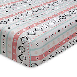 Lambs & Ivy® Little Spirit Fitted Crib Sheet in Coral/Teal