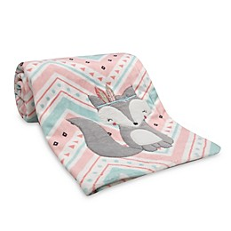 Lambs & Ivy® Little Spirit Chevron Fox Blanket in Coral/Teal