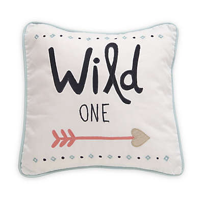 """Lambs & Ivy® Little Spirit """"Wild One"""" Square Throw Pillow in Coral/Teal"""