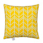 Glenna Jean Happy Camper Herringbone Square Throw Pillow in Yellow