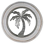 Thirstystone® Palm Tree Acacia Wood Round Trivet in Silver
