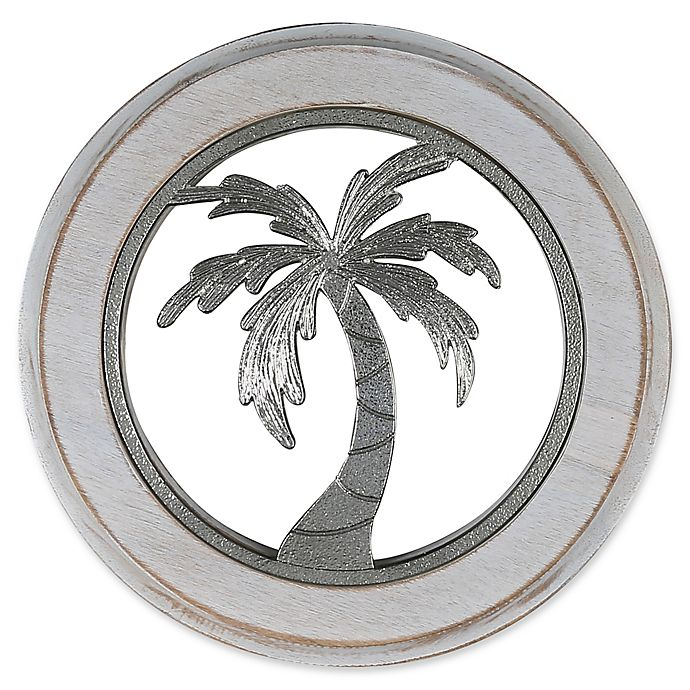 Alternate image 1 for Thirstystone® Palm Tree Acacia Wood Round Trivet in Silver