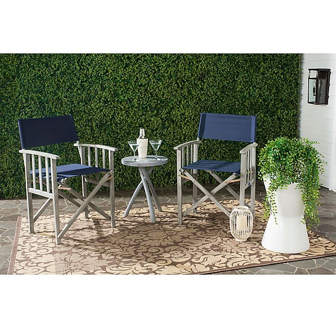 Alternate image 1 for Safavieh Laguna Outdoor Director Chair in Navy (Set of 2)