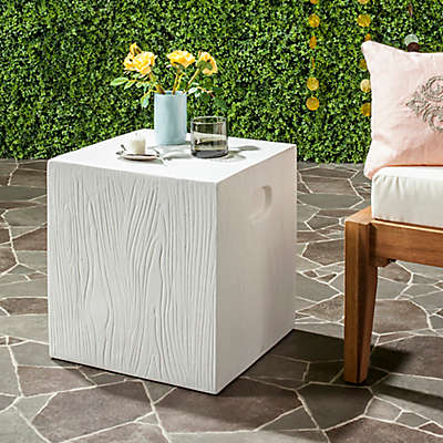Safavieh Cube Concrete Accent Table in Ivory