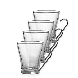 Bormioli Rocco Oslo Cappuccino Mugs with Stainless Steel Handle (Set of 4)