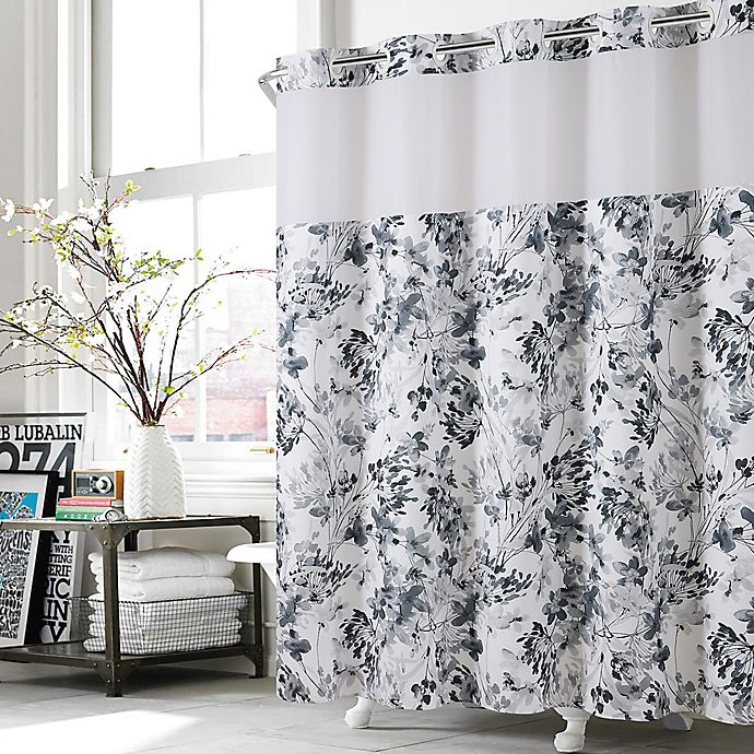 Hookless Watercolor Floral Shower Curtain In Black White Bed Bath