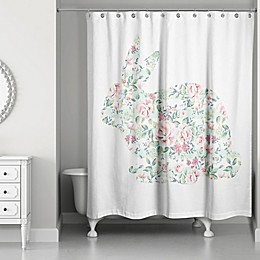Designs Direct Spring Tranquil Rabbit 74-Inch Shower Curtain in Pink