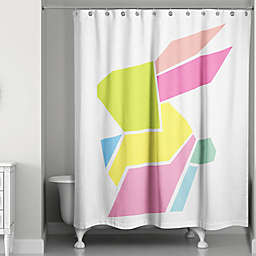 Designs Direct Spring Geometric Bunny 74-Inch Shower Curtain in Pink