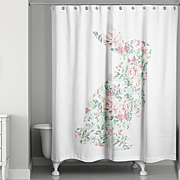 Designs Direct Spring Curious Rabbit 74-Inch Shower Curtain in Pink