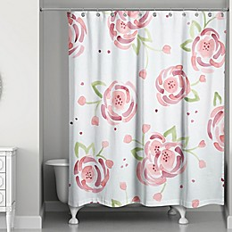Designs Direct Spring Watercolor Roses 74-Inch Shower Curtain in Pink/Green