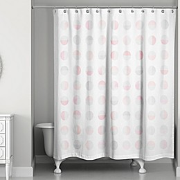 Designs Direct Spring Watercolor Semi-Circles 74-Inch Shower Curtain in Pink