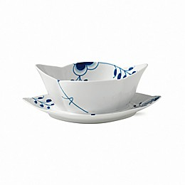 Royal Copenhagen Fluted Mega Gravy Boat with Stand in Blue