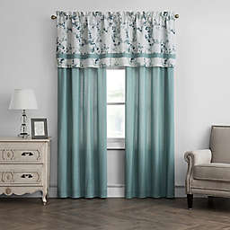 Meadow 84-Inch Rod Pocket Window Curtain Panel Pair and Valance in Aqua
