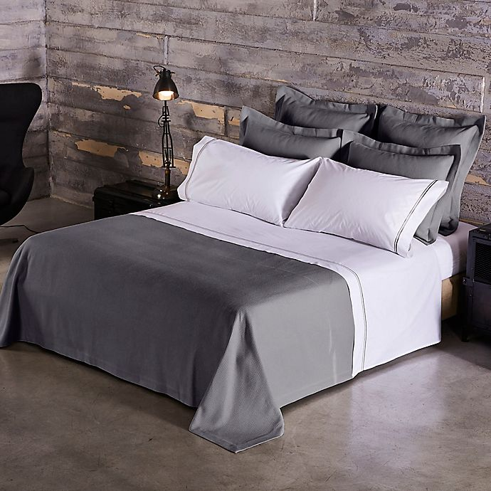 Alternate image 1 for Frette At Home Creta Quilt in Grey