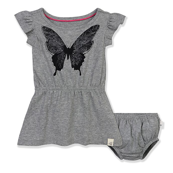 f96ae0b4b Burt's Bees Baby® Organic Cotton Butterfly Dress in Grey | Bed Bath ...
