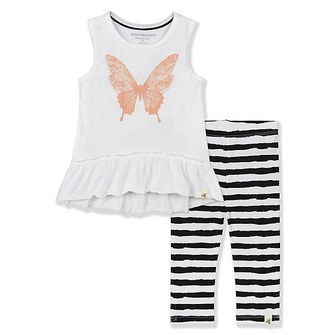 c059360f4 Burt's Bees Baby® 2-Piece Organic Cotton Butterfly Tunic and Striped  Legging Set
