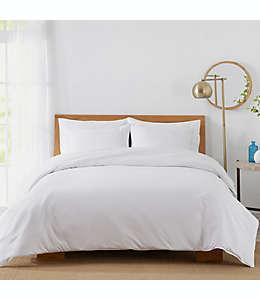 Set de funda para edredón matrimonial/queen de algodón Sunham Home Fashions de 450 hilos color blanco