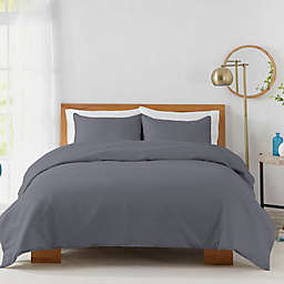 Solid 450-Thread-Count Cotton Sateen 2-Piece Twin Duvet Cover Set in Blue