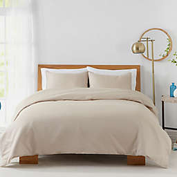 Solid 450-Thread-Count Cotton Sateen 3-Piece King Duvet Cover Set in Sand