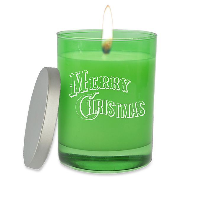 Alternate image 1 for Carved Solutions Merry Christmas Unscented Soy Wax Candle in Emerald