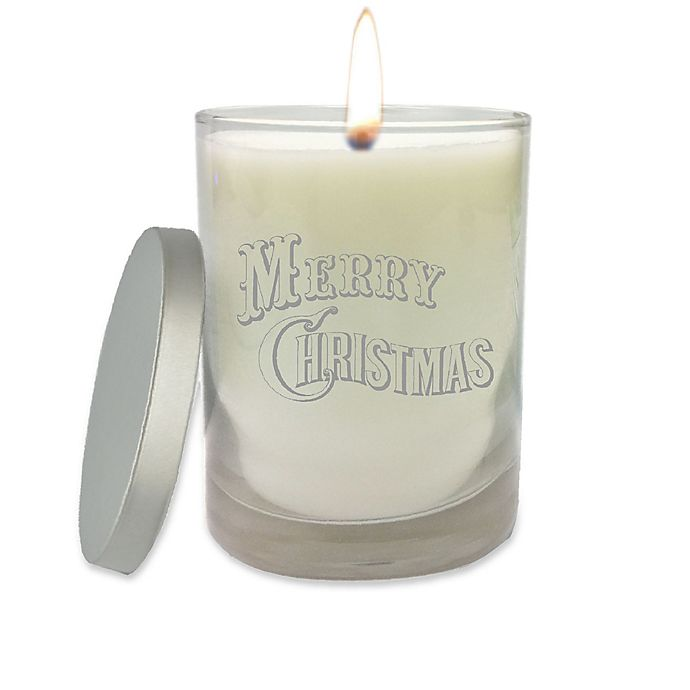 Alternate image 1 for Carved Solutions Merry Christmas Unscented Soy Wax Candle in White